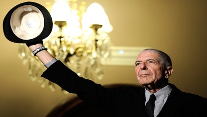 Canadian singer-songwriter Leonard Cohen gestures during a tribute in Gijon